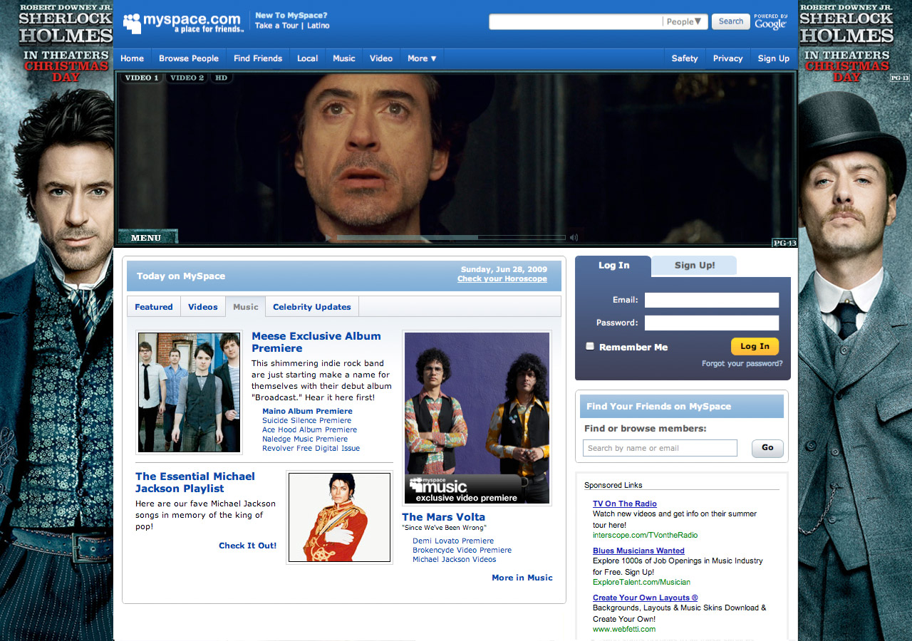 Sherlock Holmes Myspace Takeover